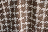 Silk Boucle Tweed Fabric by the Yard. Designer Collection - Houndstooth - Taupe and Cream - 45'' / 114cm W