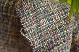 Silk Boucle Tweed Fabric by the Yard. Designer Collection - Jaden - Green and Multi Color - 53'' / 134cm W