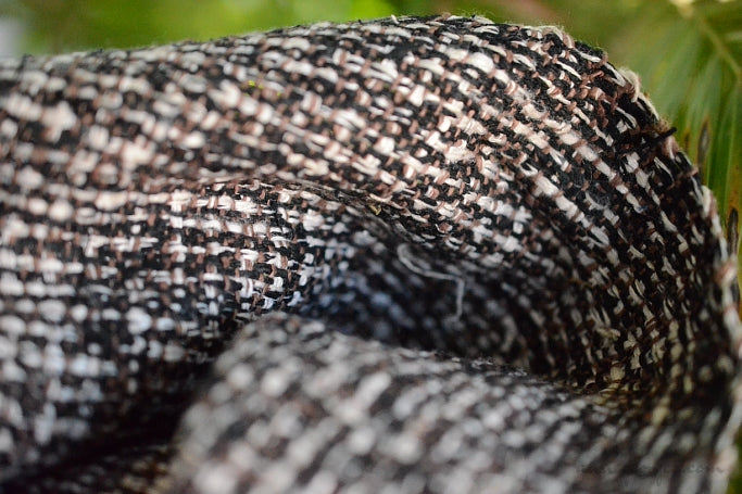 Silk Boucle Tweed Fabric by the Yard. Designer Collection - Willow - Black, Brown and White - 50'' / 127cm W