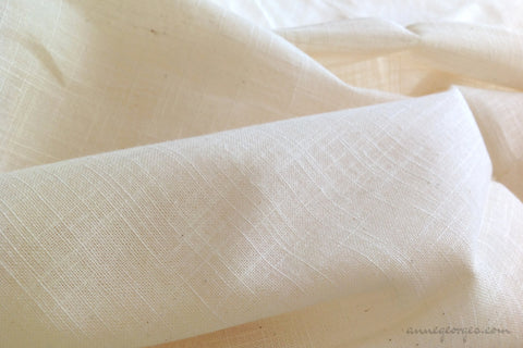 Organic Cotton Handwoven Fabric - LOOMSTATE ( Burlap Slubby Plaid, Unbleached Dyeable )