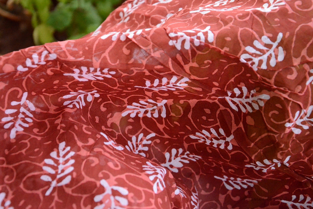 Organic Cotton Block Printed Gauze Fabric - MOONLIGHT COVE ( Windfall Leaves, Terra )
