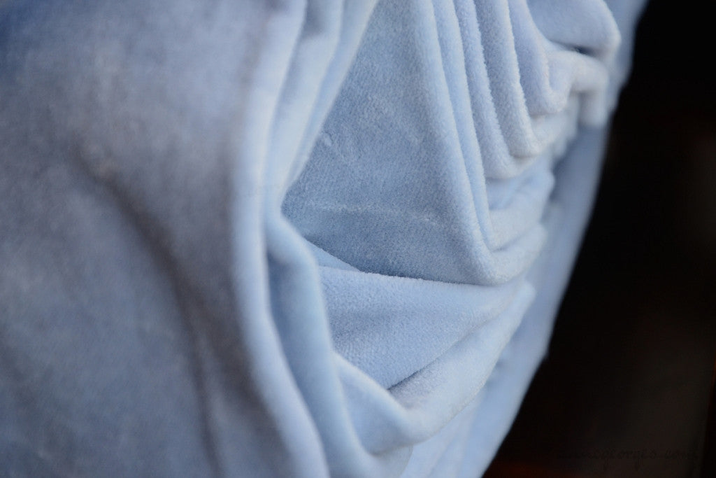 Organic Cotton Velvet Fabric - VINTAGE MEMORIES ( Powder Blue )