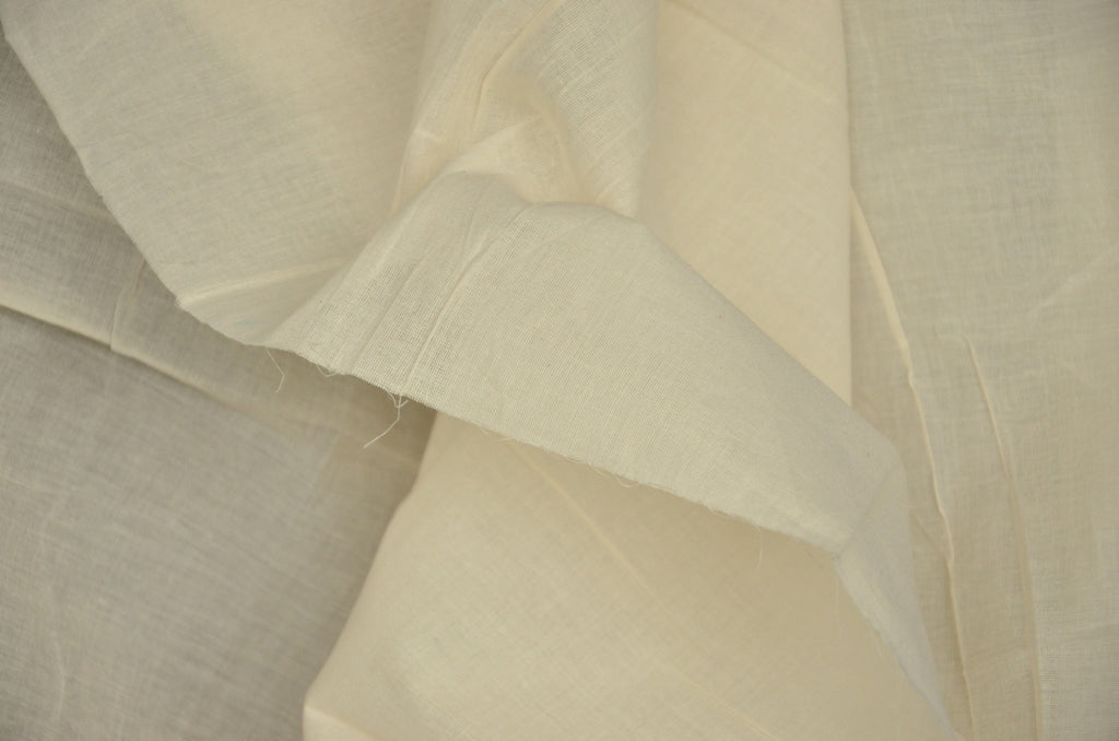 Organic Cotton Handwoven Extra Wide Fabric - LOOMSTATE ( Voile 120, Unbleached Dyeable)