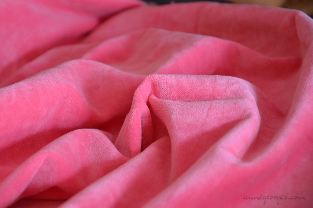 Organic Cotton Velvet Fabric - DOLCE VITA ( Just Pink )