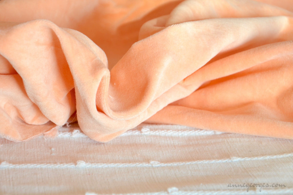 Organic Cotton Velvet Fabric - DOLCE VITA ( Peaches )