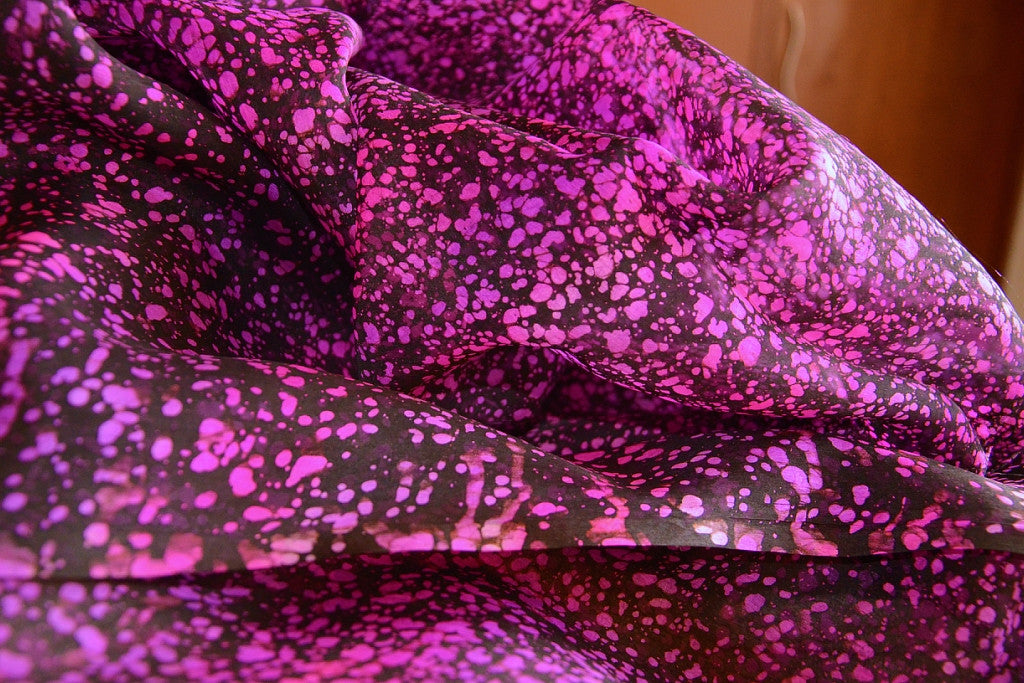 Hand Painted Silk Organza Fabric - ENCHANTED GROTTO ( Violeta )