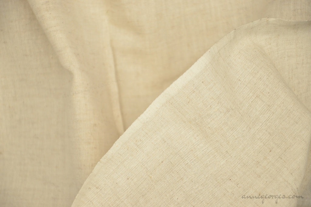 Organic Handwoven Cotton+Linen Fabric  - NATURAL BLENDS ( Dish Cloth Fabric, Unbleached Dyeable )