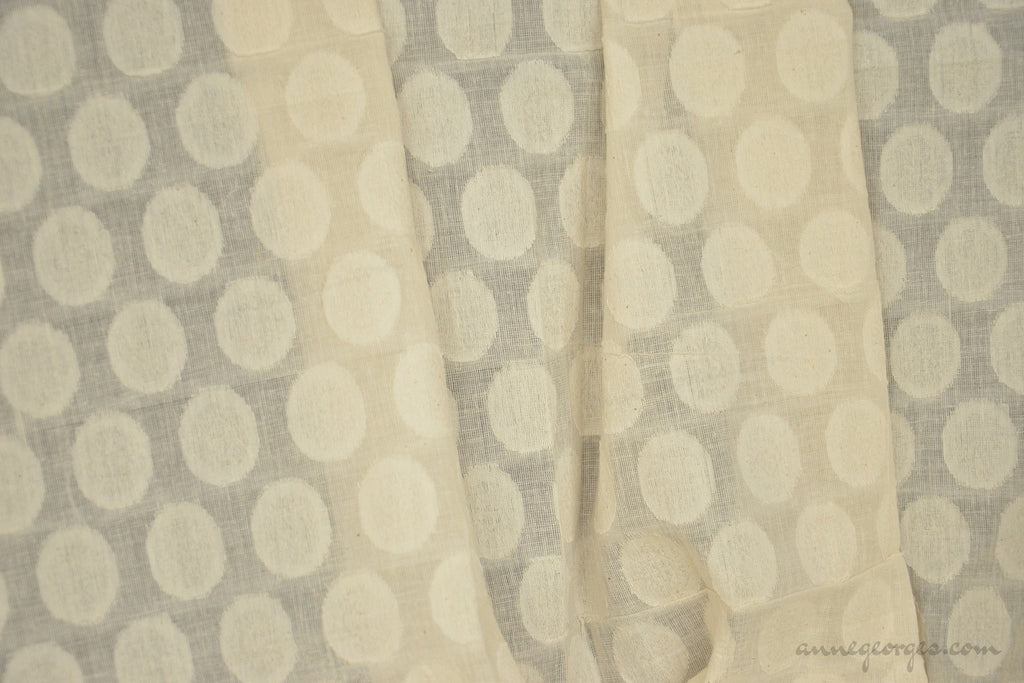 Organic Cotton Handwoven Fabric - LOOMSTATE ( Floral Medallions, Unbleached Dyeable )