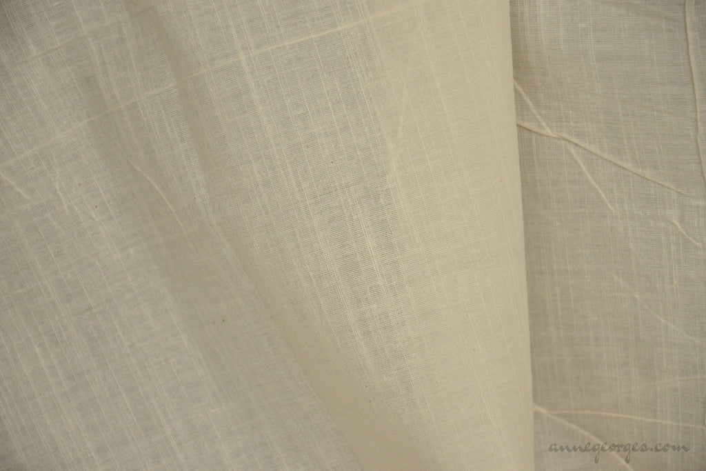 Organic Cotton Handwoven Fabric - LOOMSTATE ( Fine Slub Plaid, Unbleached Dyeable)