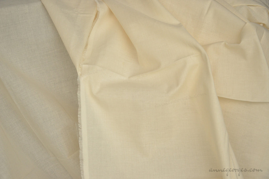 Organic Cotton Handwoven Fabric - LOOMSTATE ( GOTS Cambric, Unbleached Dyeable )