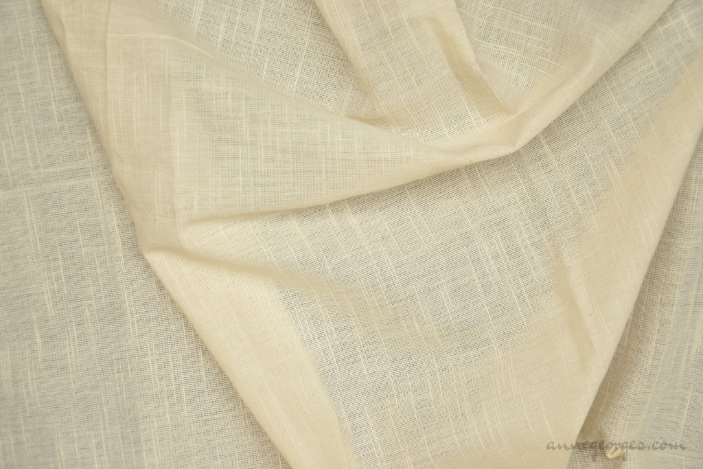 Organic Cotton Handwoven Fabric - LOOMSTATE ( Fine Slub Stripes, Unbleached Dyeable )