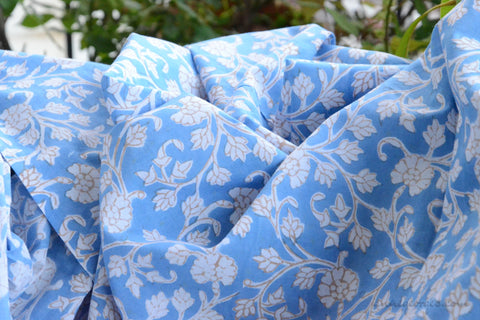 Block Printed Organic Cotton Fabric - SWEET SUMMER ( Floral All Over, Skies )