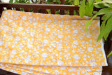 Block Printed Organic Cotton Fabric - SWEET SUMMER ( Floral All Over, Sunshine)