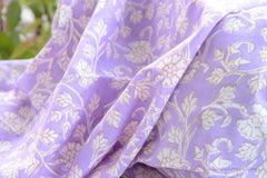 Block Printed Organic Cotton Fabric - SWEET SUMMER ( Floral All Over, Lavender )