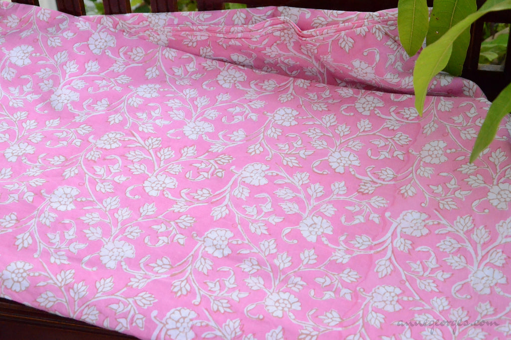 Block Printed Organic Cotton Fabric - SWEET SUMMER ( Floral All over, Candy )