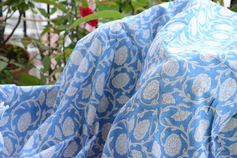 Block Printed Organic Cotton Fabric - SWEET SUMMER ( Zinnia All Over, Skies )