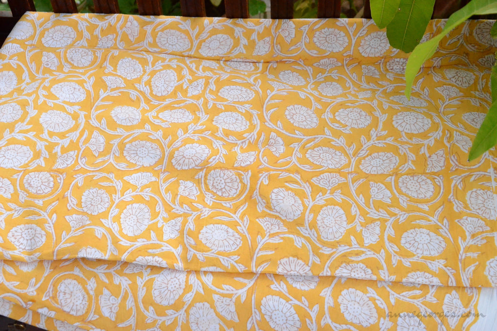 Block Printed Organic Cotton Fabric - SWEET SUMMER ( Zinnia All Over, Sunshine )