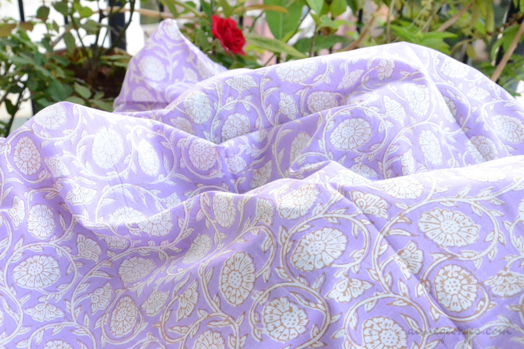 Block Printed Organic Cotton Fabric - SWEET SUMMER ( Zinnia All over, Lavender )