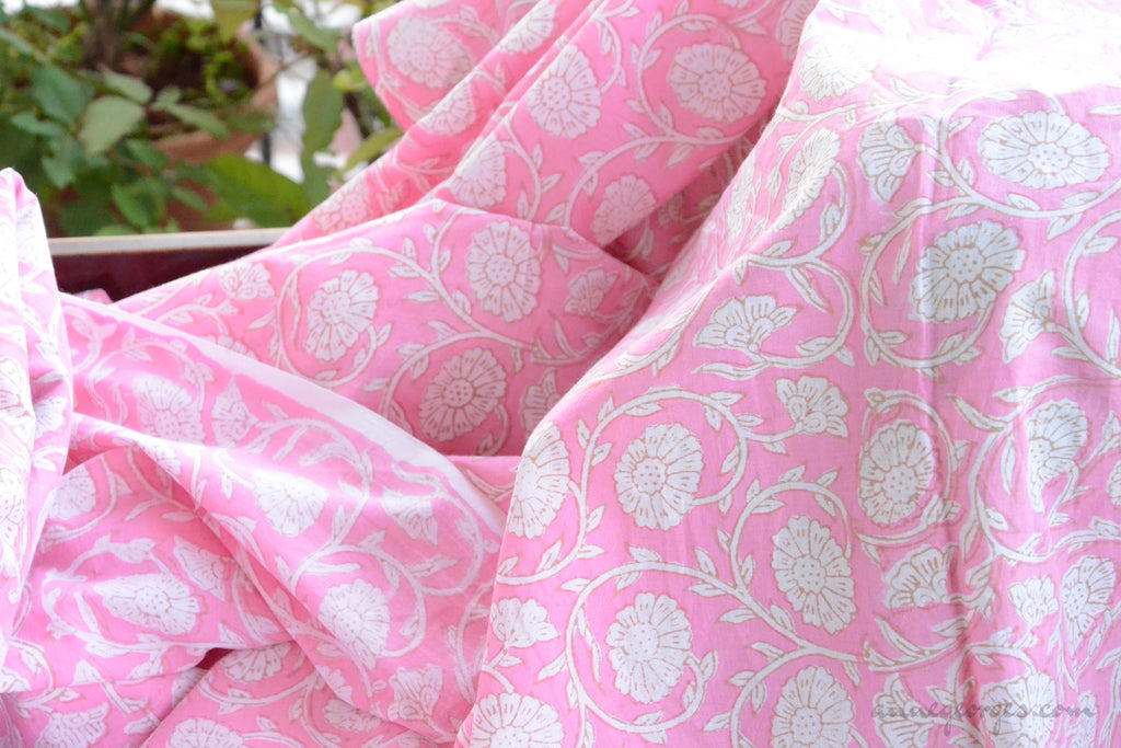 Block Printed Organic Cotton Fabric - SWEET SUMMER ( Zinnia All over, Candy )