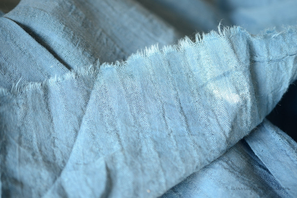 Handwoven Indigo, Aloevera dyed  Organic Cotton Fabric