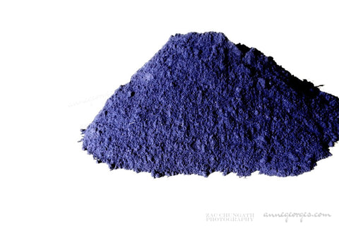 Indigo extract. Indigofera tinctoria. Natural dye for fabric and paper. Soulful blues.