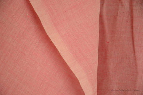 Light Cotton Fabric - Hand Spun Yarn, Hand Woven on Vintage Hand Looms. SUMMER BREEZE - Dusty Rose