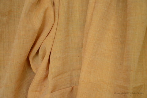 Light Cotton Fabric - Hand Spun Yarn, Hand Woven on Vintage Hand Looms. SUMMER BREEZE - Butterscotch
