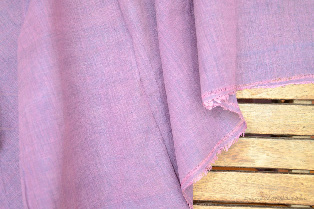 Light Cotton Fabric - Hand Spun Yarn, Hand Woven on Vintage Hand Looms. SUMMER BREEZE - Orchid