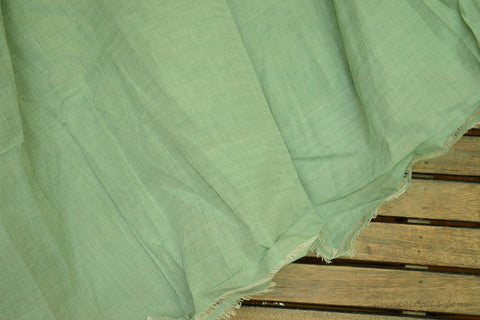 Light Cotton Fabric - Hand Spun Yarn, Hand Woven on Vintage Hand Looms. SUMMER BREEZE - Faded Mint