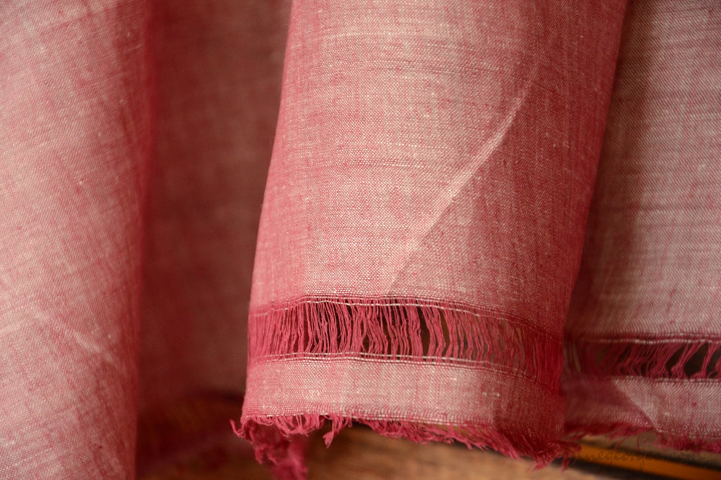 Light Cotton Fabric - Hand Spun Yarn, Hand Woven on Vintage Hand Looms. SUMMER BREEZE - Dusty Burgandy
