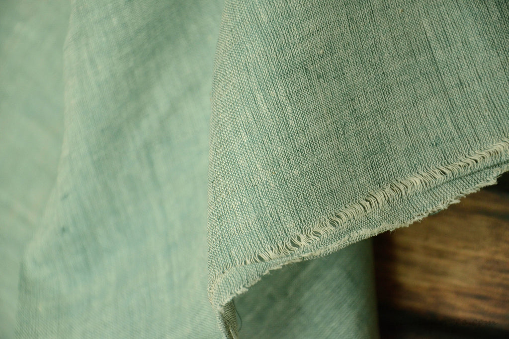 Light Cotton Fabric - Hand Spun Yarn, Hand Woven on Vintage Hand Looms. SUMMER BREEZE - Nori
