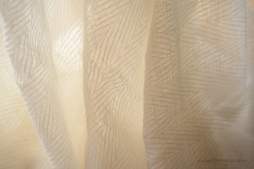 Handwoven Mohair Fabric - MOHAIR LIGHTS ( Chevron, Unbleached Dyeable )