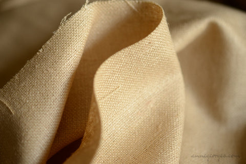 "Handwoven Wild Peace Silk Fabric. Perfect for winter jacket, pencil skirt, sheath dress. Unbleached natural deep beige color. 250gsm 54""."