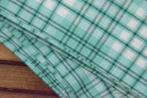 Pure Organic Cotton Plaid Fabric - MADRAS PLAIDS ( Green & White )
