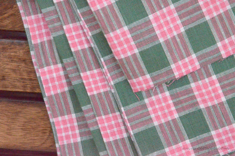 Pure Organic Cotton Plaid Fabric - MADRAS PLAIDS ( Green & Pink )