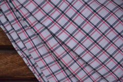 Pure Organic Cotton Plaid Fabric - MADRAS PLAIDS ( White Red & Black )