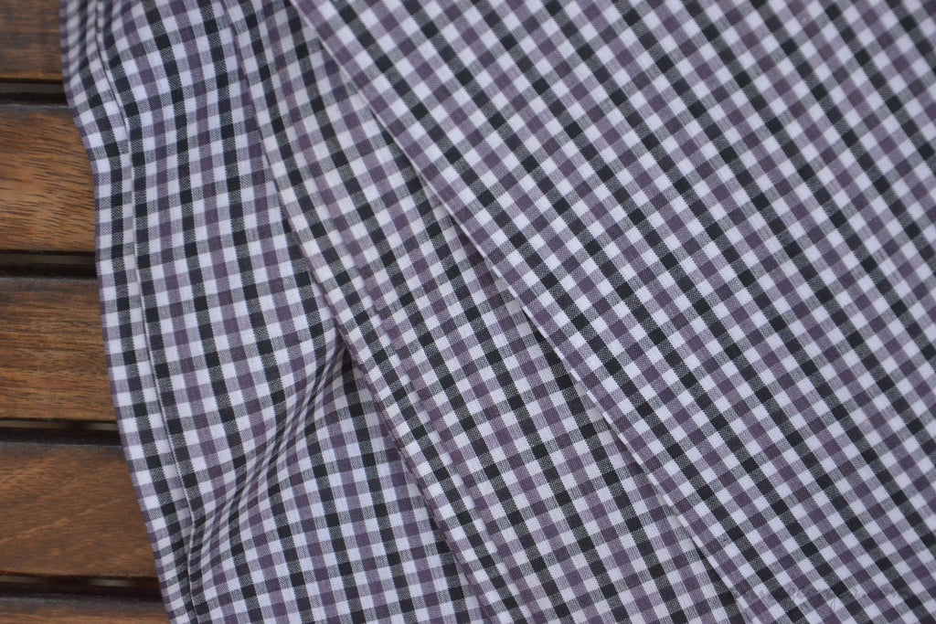 Pure Organic Cotton Plaid Fabric Madras Plaids Black Purple