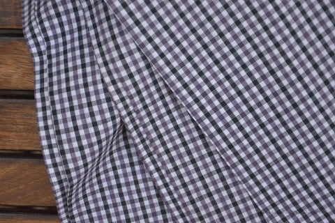 Pure Organic Cotton Plaid Fabric - MADRAS PLAIDS ( Black Purple & White )