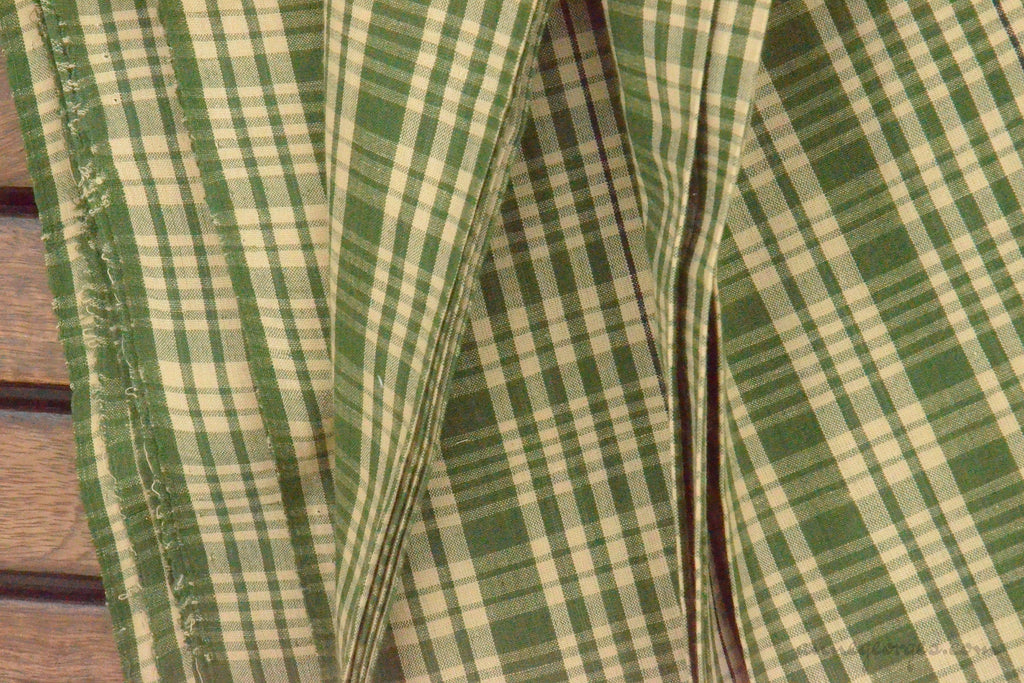 Pure Organic Cotton Plaid Fabric - MADRAS PLAIDS ( Green & Beige )