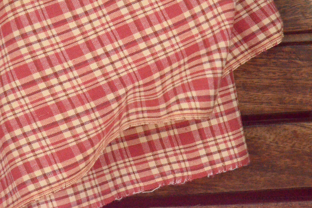 Pure Organic Cotton Plaid Fabric - MADRAS PLAIDS ( Red & Beige )