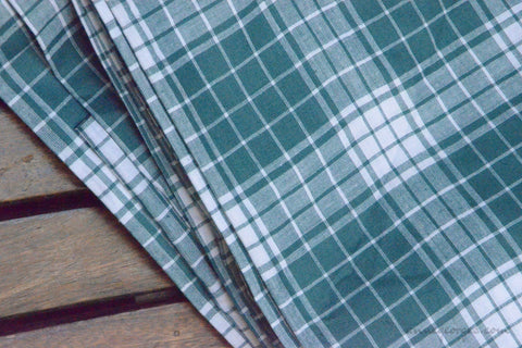 Pure Organic Cotton Plaid Fabric - MADRAS PLAIDS ( Teals & White )