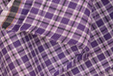 Pure Organic Cotton Plaid Fabric - MADRAS PLAIDS ( Purple White & Black )