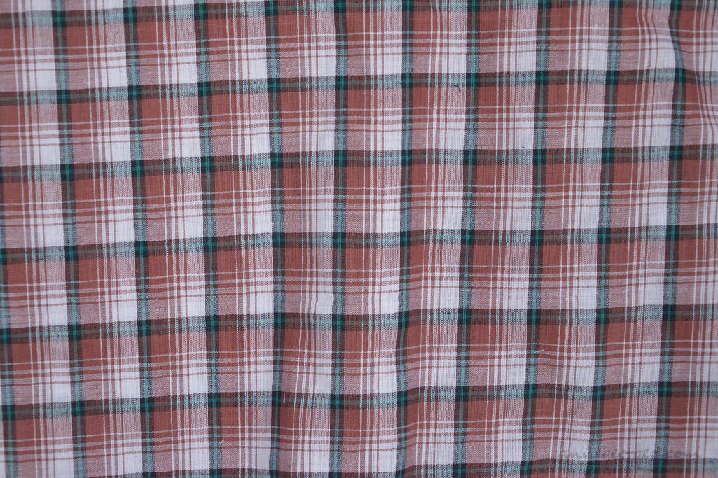 Pure Organic Cotton Plaid Fabric Madras Plaids Brown Black