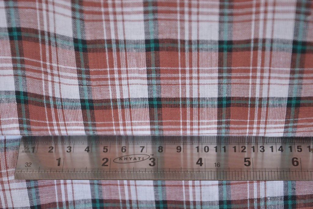 Pure Organic Cotton Plaid Fabric - MADRAS PLAIDS ( Brown Black & White )