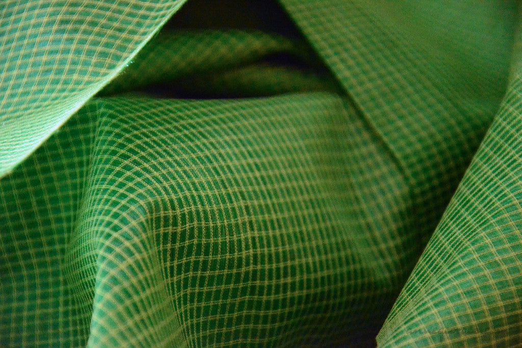 Organic Handwoven Peace Silk+Cotton Fabric - FQ, Yardage & Bolts - MINI PLAIDS ( Peacock Dance, Marathakam )