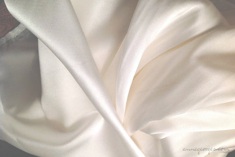 Pure Silk Stretch Satin Fabric (Silk Satin Lycra, Unbleached Dyeable )