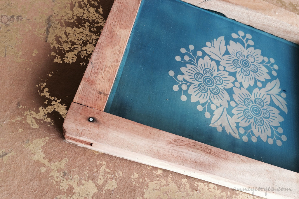 Pre-made Silk Screen for easy use. Screen Print, Fabric Print Tool. Print on fabric and paper. Florals 02