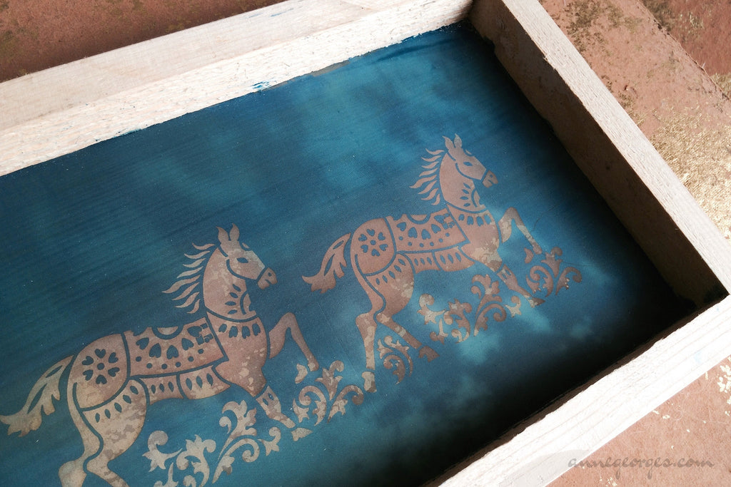 Pre-made Silk Screen for easy use. Screen Print, Fabric Print Tool. Print on fabric and paper. Horses 01