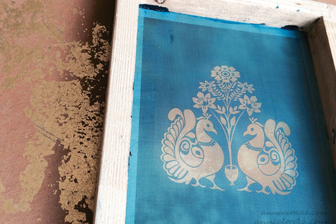 Pre-made Silk Screen for easy use. Screen Print, Fabric Print Tool. Print on fabric and paper. Peacock 02
