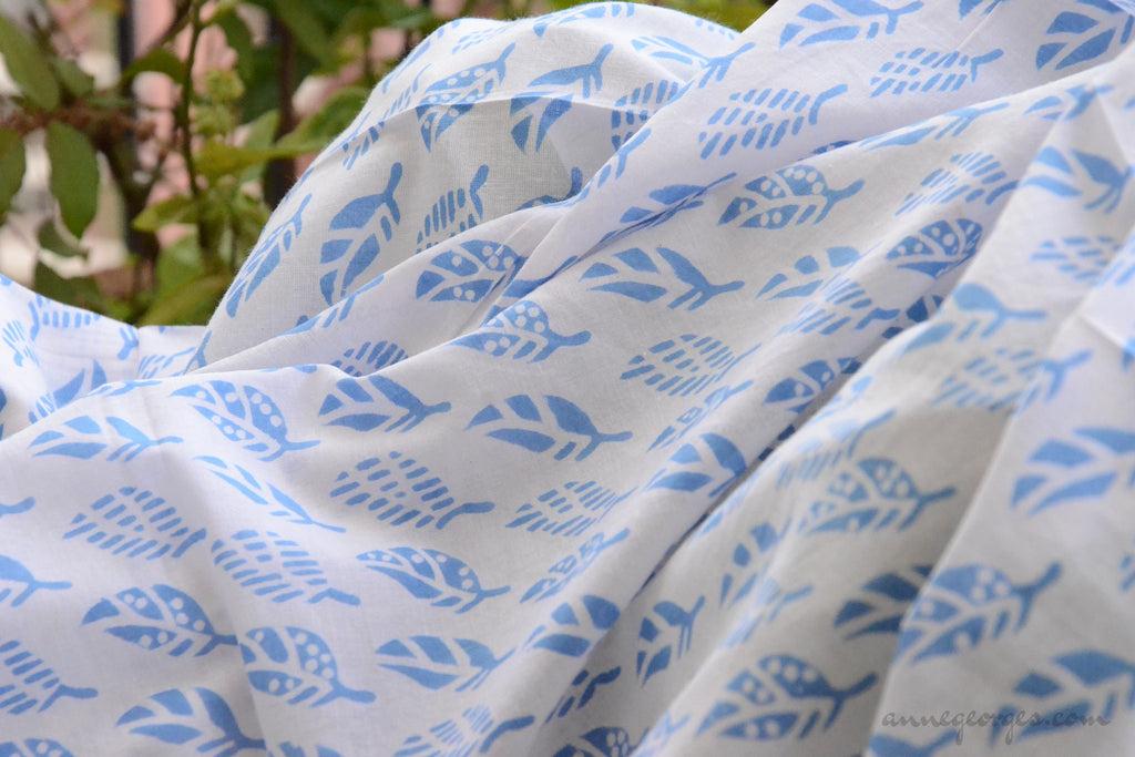Block Printed Organic Cotton Fabric - SWEET SUMMER ( Leaves, Skies )